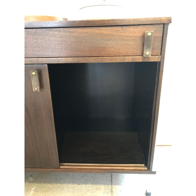 Knoll Knoll and Drake Walnut Cabinet With Sliding Doors For Sale - Image 4 of 8