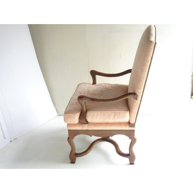Soft Peach Louis XV-Style Fauteuil - Image 5 of 5