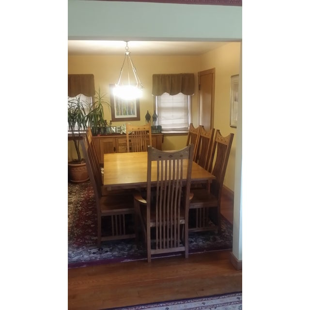 Solid Quatersawn Oak Mission-Style Dining Set - Set of 9 For Sale - Image 10 of 13