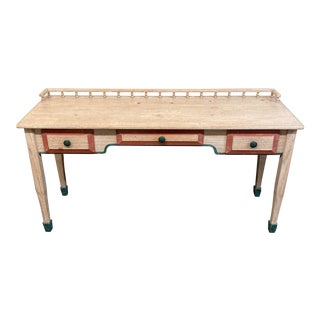 Late 20th Century Late 20th Century Hand - Painted Washed Console Desk For Sale