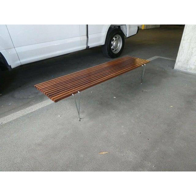 Hugh Acton Mid Century Modern Hugh Acton Slatted Wood Bench For Sale - Image 4 of 9