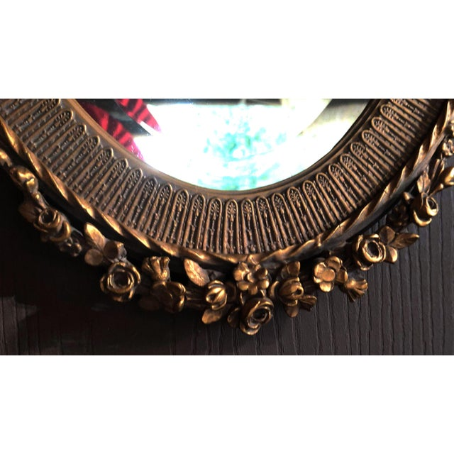 19th C. Renaissance Revival Gesso & Carved Giltwood Oval Beveled Wall Mirrors - a Pair For Sale - Image 9 of 13