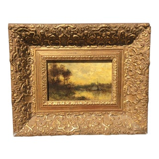 James Crawford Thom Landscape Oil on Board Painting For Sale