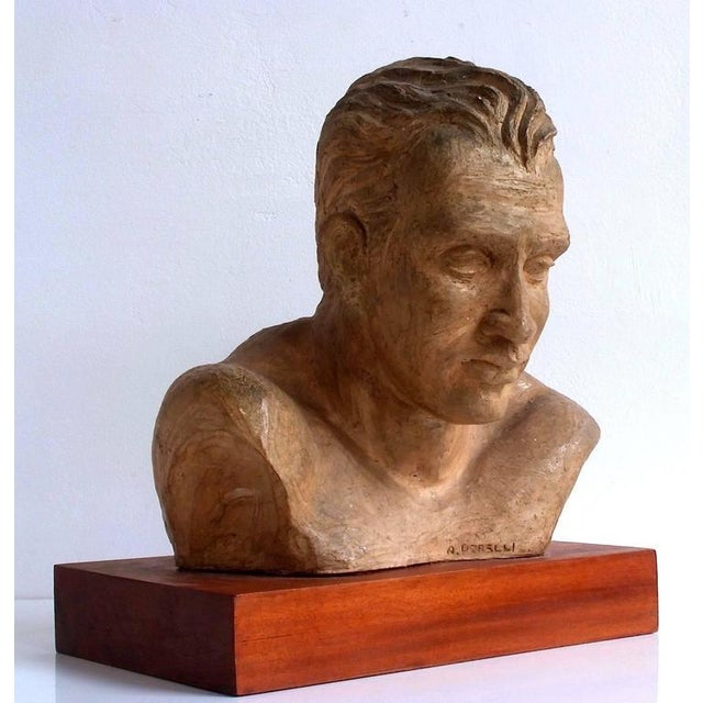 Brown Portrait of an Athlete Clay Sculpture by A. Perelli For Sale - Image 8 of 8