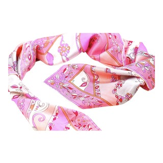 1960s Emilio Pucci Pink Graphic Silk Scarf For Sale
