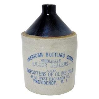 Antique American Stoneware Liqour Jug For Sale