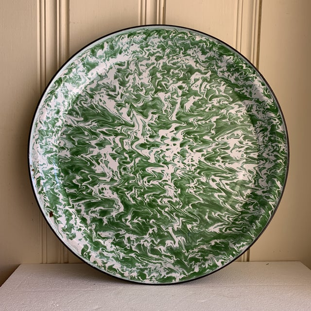 Large round marbled abstract patterned green and white metal tray with black rim. Perfect for indoor or outdoor serving,...