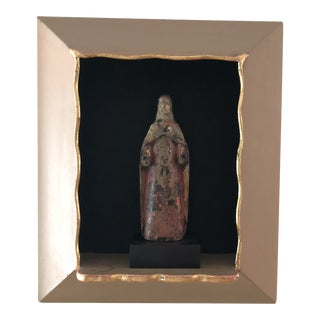 Antique Polychrome Santo Sculpture in Shadow Box For Sale