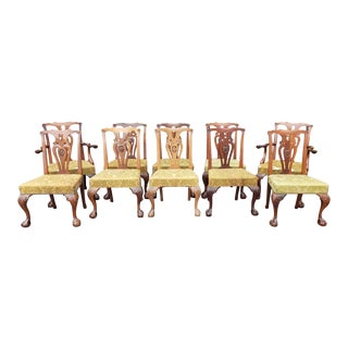 1950s Vintage Quality Mahogany Chippendale Style Dining Room Chairs- Set of 10 For Sale