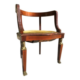 French Empire Mahogany Tub Chair With Figural Bronze Sculpting and Lion Paw Feet For Sale