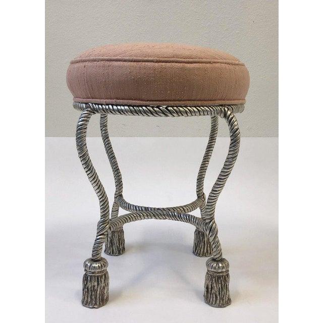 Fabric Silvered Rope Tassel Vanity Stool by Phyllis Morris For Sale - Image 7 of 8