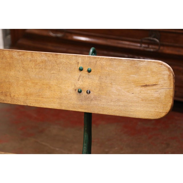 Early 20th Century French Oak and Green Painted Cast Iron Garden Bench For Sale In Dallas - Image 6 of 12