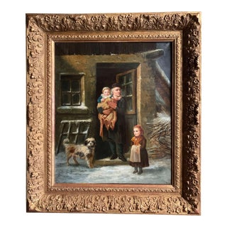 19th Century French Oil on Canvas Painting in Carved Giltwood Frame For Sale