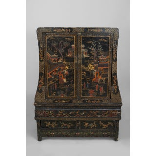 Asian Chinese Style Black Lacquered and Chinoiserie Decorated 2 Door Cabinet Preview
