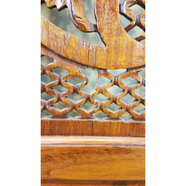 "Southeast Asian ""Lion Shanghai"" Hardwood 4-Panel Screen For Sale - Image 9 of 11"