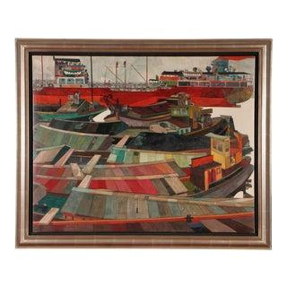 Jordi Aluma Masvidal (Spanish, B. 1924) Oil on Board, the Port of Barcelona