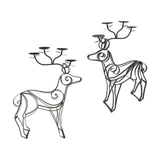 Bronze Deer Mantel Candelabras - Pair For Sale