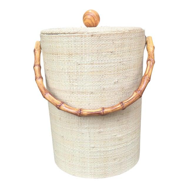 Mid-Century Modern Boho Tiki Ice Bucket With Bamboo Handle For Sale