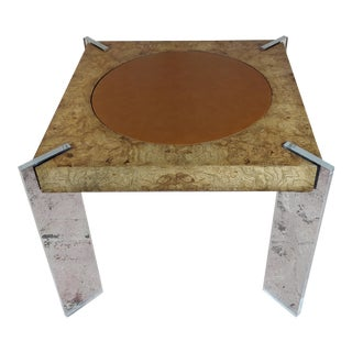 Vladimir Kagan Burled Wood & Lucite Game Table - Circa 1970s For Sale