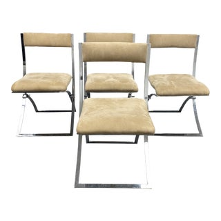 """1970's Mobel Italia Marcello Cueno """"Luisa"""" Folding Chairs - Set of 4 For Sale"""