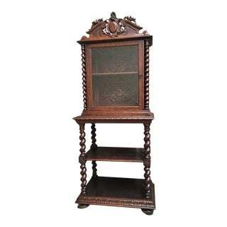 19th Century Antique French Carved Oak Barley Twist Display Cabinet For Sale
