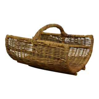 20th Century Rustic Woven Basket For Sale