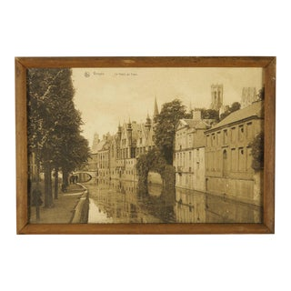 19th Century Antique Framed Sepia Photograph of Bruges For Sale