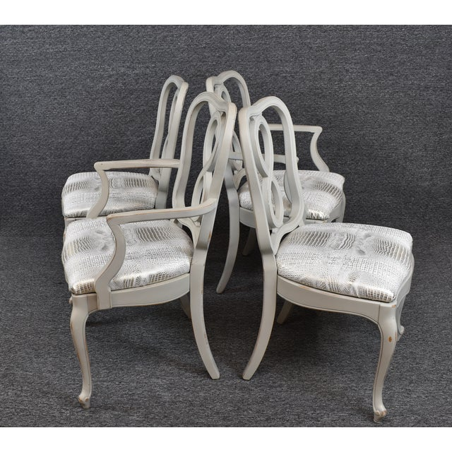 Late 20th Century French Country Louis XV Style Dining Chairs- Set of 4 For Sale - Image 5 of 13