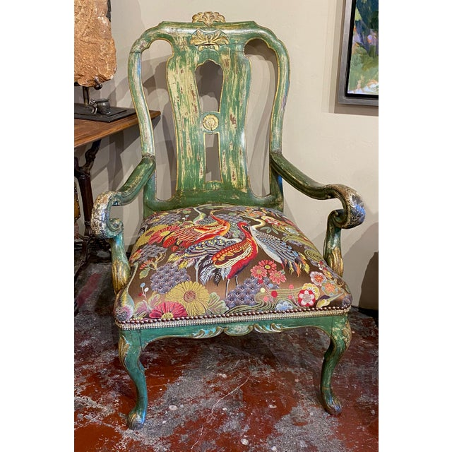 Italian Paint and Gilt Arm Chair For Sale - Image 4 of 10