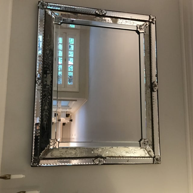 1900s Antique Venetian Glass Silver Tone Mirror For Sale - Image 5 of 6