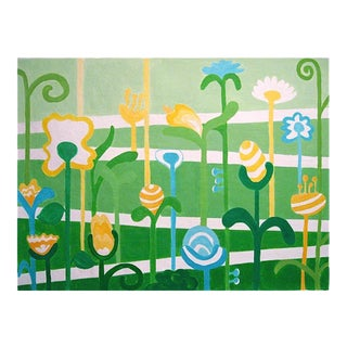 "Whimsical Abstract Painting ""Garden Path"" by Trixie Pitts For Sale"