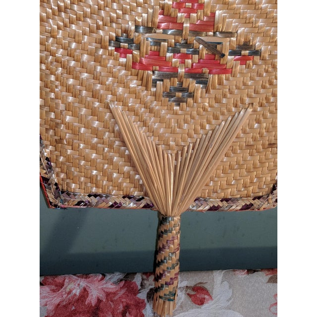 Vintage Thai Woven Straw Bamboo Hand Fans - a Pair For Sale - Image 6 of 9
