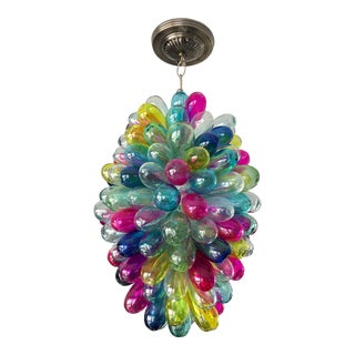 Recycled Hand Blown Glass Gemstones Color Chandelier For Sale