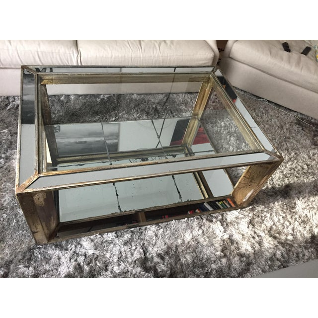 Glass Mirrored Distressed Wood Coffee Table - Image 2 of 4