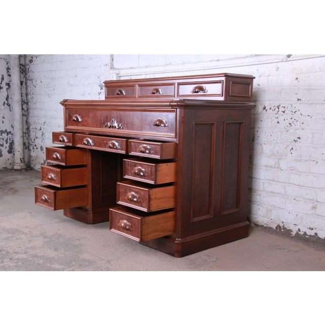 Black Antique 1850s Victorian Carved Flame Mahogany Chicago Railroad Desk For Sale - Image 8 of 13