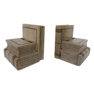 Maitland Smith Tessellate Stone Bookend Box - Pair For Sale