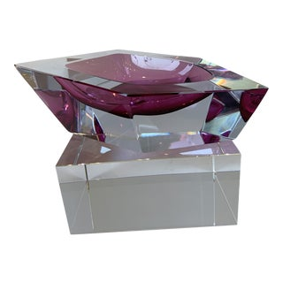 21st Century Pink Murano Crystal Faceted Decorative Dish by Alessandro Mandruzzato For Sale