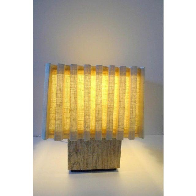 Paul Marra Paul Marra Modern Distressed Silvered Oak Lamp For Sale - Image 4 of 9