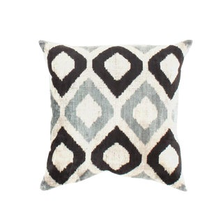 Contemporary Pasargad Oasis Collection Silk Velvet Ikat Pillow - 24ʺw × 24ʺh For Sale