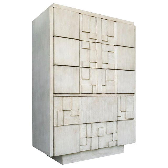 Brutalist White Finish Tall Cabinet or Chest by Lane For Sale - Image 9 of 9