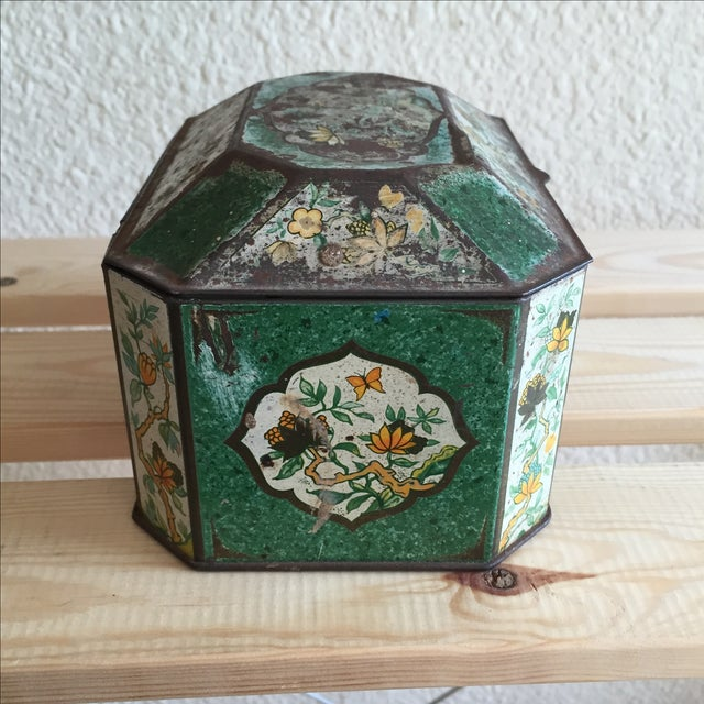 Chinoiserie Flowers English Metal Box - Image 3 of 7
