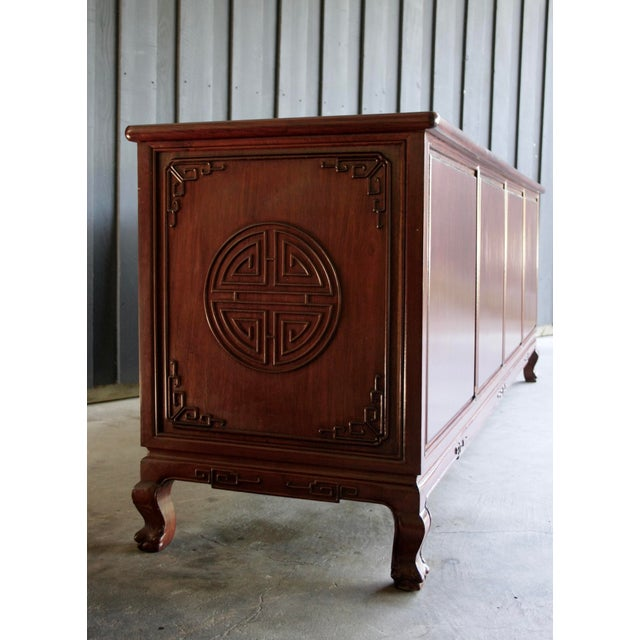 Brass Chinoiserie Rosewood Credenza With Brass Pulls For Sale - Image 7 of 11