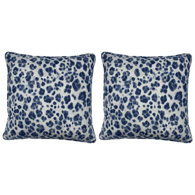 Thibaut 'Panthera' Blue and White Panther Motif on Linen Pillows, Pair For Sale