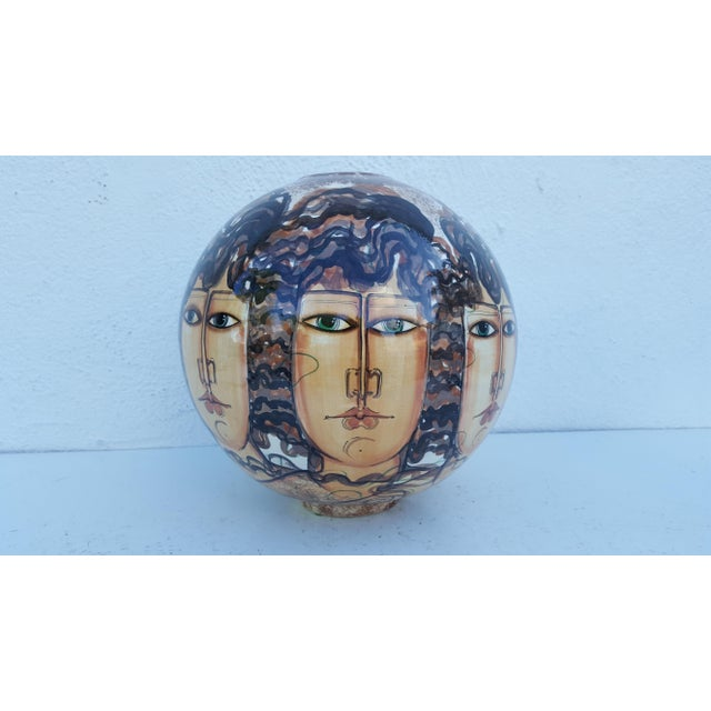 Mid-Century Modern Vintage Hand-Painted Face Ceramic Vase For Sale - Image 3 of 10
