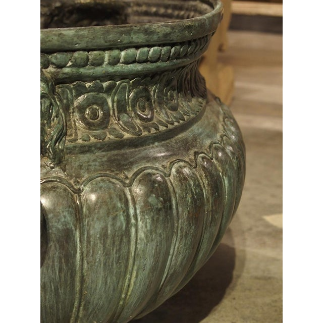 Large Antique Patinated Bronze Jardiniere From Italy, Circa 1890 For Sale - Image 4 of 13