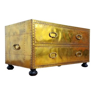 1970s Hollywood Regency Sarreid Brass Trunk Chest For Sale
