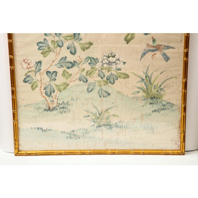 A stunning hand painted wallpaper panel by Gracie in a giltwood faux bamboo frame. The lovely scene is composed of...