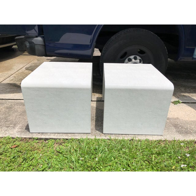 Made Goods 20th Century Modern Made Goods Faux Shagreen Waterfall Side Tables - a Pair For Sale - Image 4 of 8