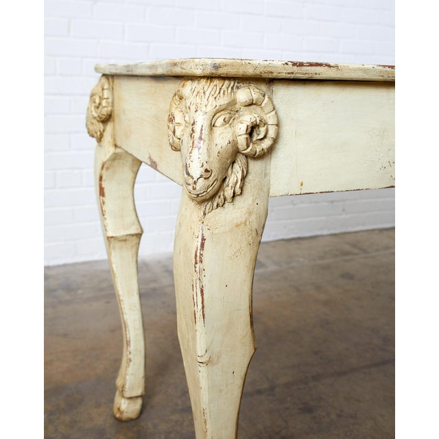 Rustic Italian Lacquered Ram's Head Motif Writing Table For Sale - Image 4 of 13