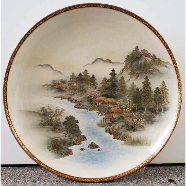 Early 20th Century Early 20th Century Japanese Satsuma Porcelain Mountain Village on River Scene Charger Plate For Sale - Image 5 of 5
